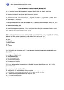 Lista de exercícios sobre Migrações