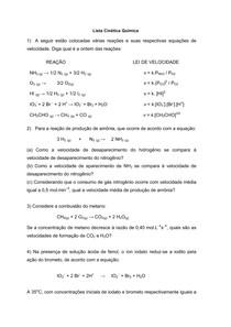 LISTA RESOLVIDA - Cinética Química.