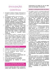 USO DA CLOROQUINA E Divulgação científica durante a pandemia COVID
