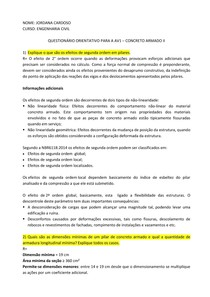 Lista de Exercícios Estrutura de Concreto II