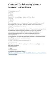 Contribuições Psicopedagógicas e a Intervenção Com Idosos
