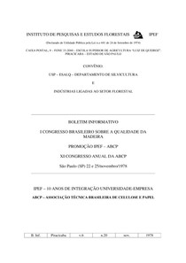 Boletim informativo - I Congresso Brasileiro sobre a Qualidade da Madeira
