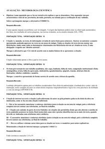 AVALIAÇÃO DE METODOLOGIA CIENTÍFICA