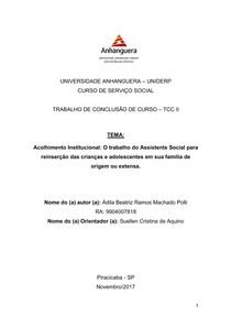 ARTIGO TCC II - A importância do Assistente Social para reinserção da criança e/ou adolescente na familia de origem e/ou extensa