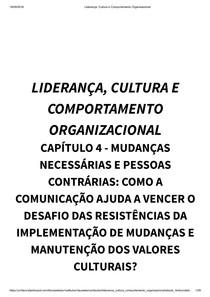 Liderança, Cultura e Comportamento Organizacional  capitulo 4