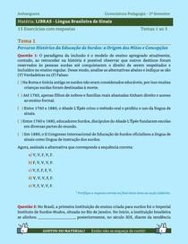 LIBRAS - Língua Brasileira de Sinais - 15 Exercícios resolvidos dos Temas 1 ao 3