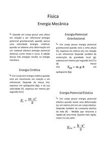 Resumo de Física - Energia Mecânica