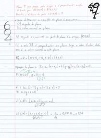 Seja π o plano que passa pela origem e e perpendicular a reta que une os pontos