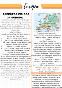 Resumo Continente Europeu, aspectos fisicos, economicos e sociais