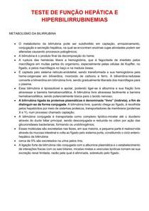 TESTE DE FUNÇÃO HEPATICA E HIPERBILIRRUBINAS