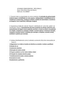 PRÉ CLINICA 1 - DENTÍSTICA