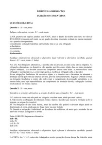 Exercícios comentados Direito das Obrigações - Parte 1