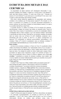 ESTRUTURA DOS METAIS E DAS CERÂMICAS