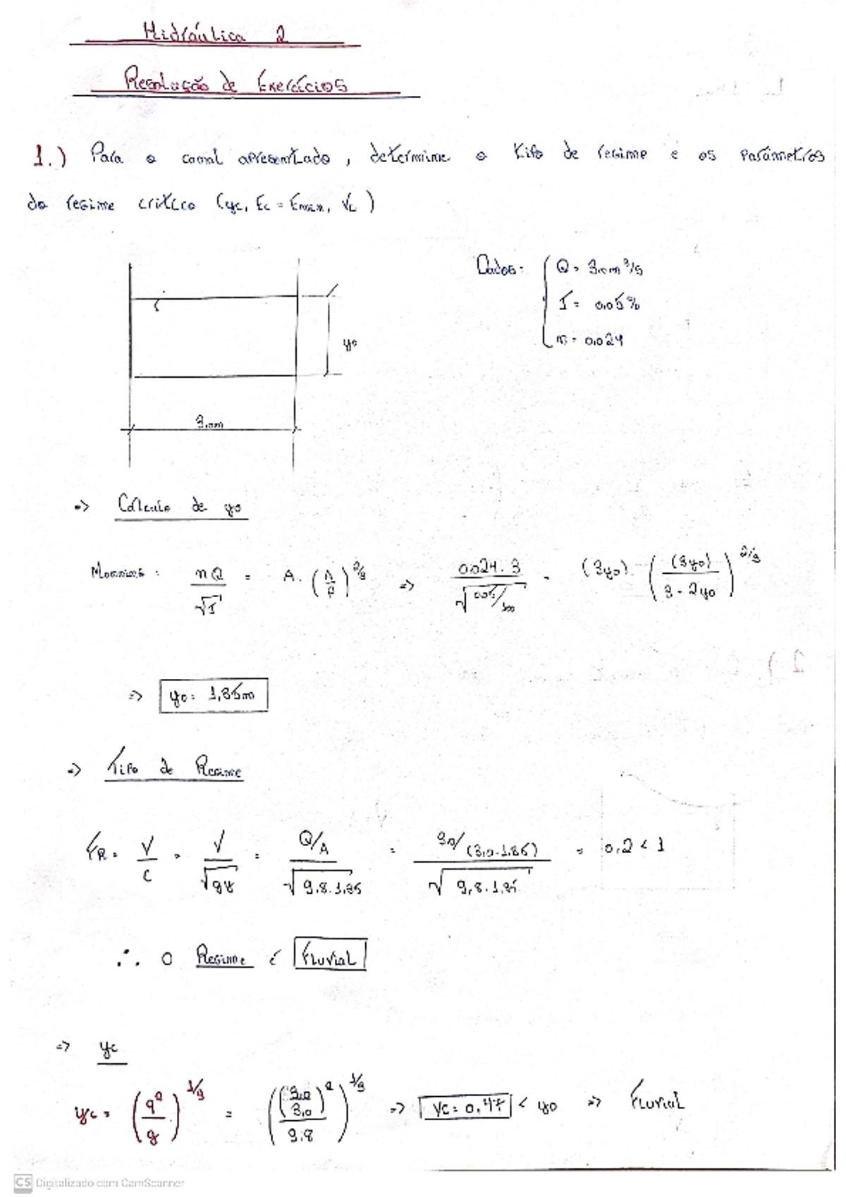 Pre-visualização do material Exercícios resolvidos de canais (Hidráulica) - página 1