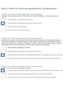 APOL 5 NOTA 100 - Política de Seguridade Social - Previdência Social
