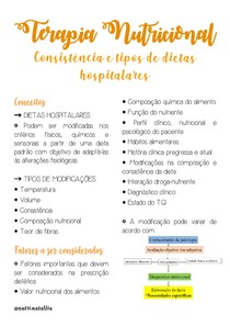 Terapia Nutricional - Consistência e tipos de dieta
