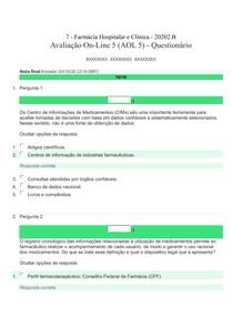Farmácia Hospitalar e Clínica (AOL 5) - 20202 .B