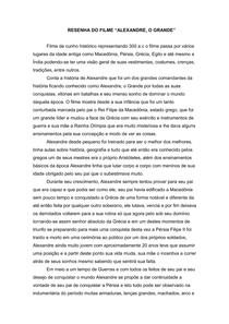 RESENHA DO FILME ALEXANDRE, O GRANDE
