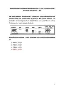 Questão sobre Cronograma Físico-Financeiro - CETAP Pref Municipal de São Miguel do Guamá-PA 2019