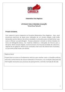 Atividade Para a AV1 - Matematica p negocios 2020-1 - Gabarito
