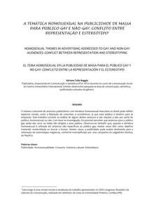 A Temática Homossexual na Publicidade de Massa para público gay e não gay: conflito entre representação e estereótipo (Adriana Baggio)