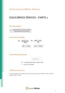 Equilíbrios iônicos: grau de ionização, lei de diluição de Ostwald e efeito do íon comum - Resumo