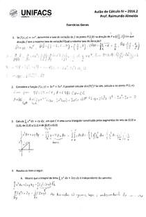 Cálculo IV UNIFACS - Lista Aulão 2016.2