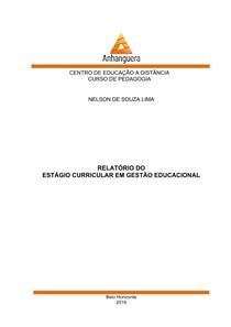 Relatório Estágio - Gestão Educacional - 50 horas