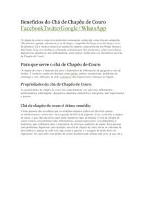 Benefícios do Chá de Chapéu de Couro - Economia e Mercado 5f6b944f93e