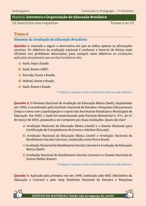 Estrutura e Organização da Educação Brasileira - 25 Exercícios resolvidos dos Temas 6 ao 10