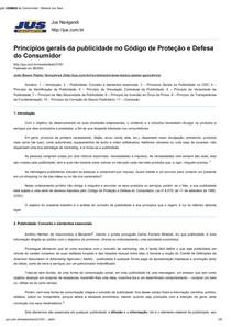 TEXTO III - Princípios gerais da publicidade no Código de Proteção e Defesa do Consumidor - Revista Jus Navigandi - Doutrina e Peças
