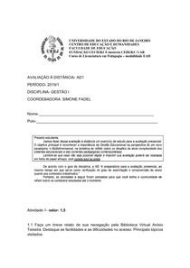 AD1 COMPLETA GESTÃO 1 - 2019.1