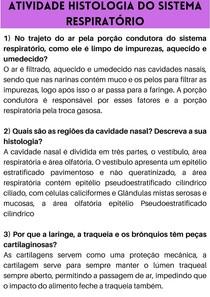 ATIVIDADE HISTOLOGIA DO SISTEMA RESPIRATÓRIO
