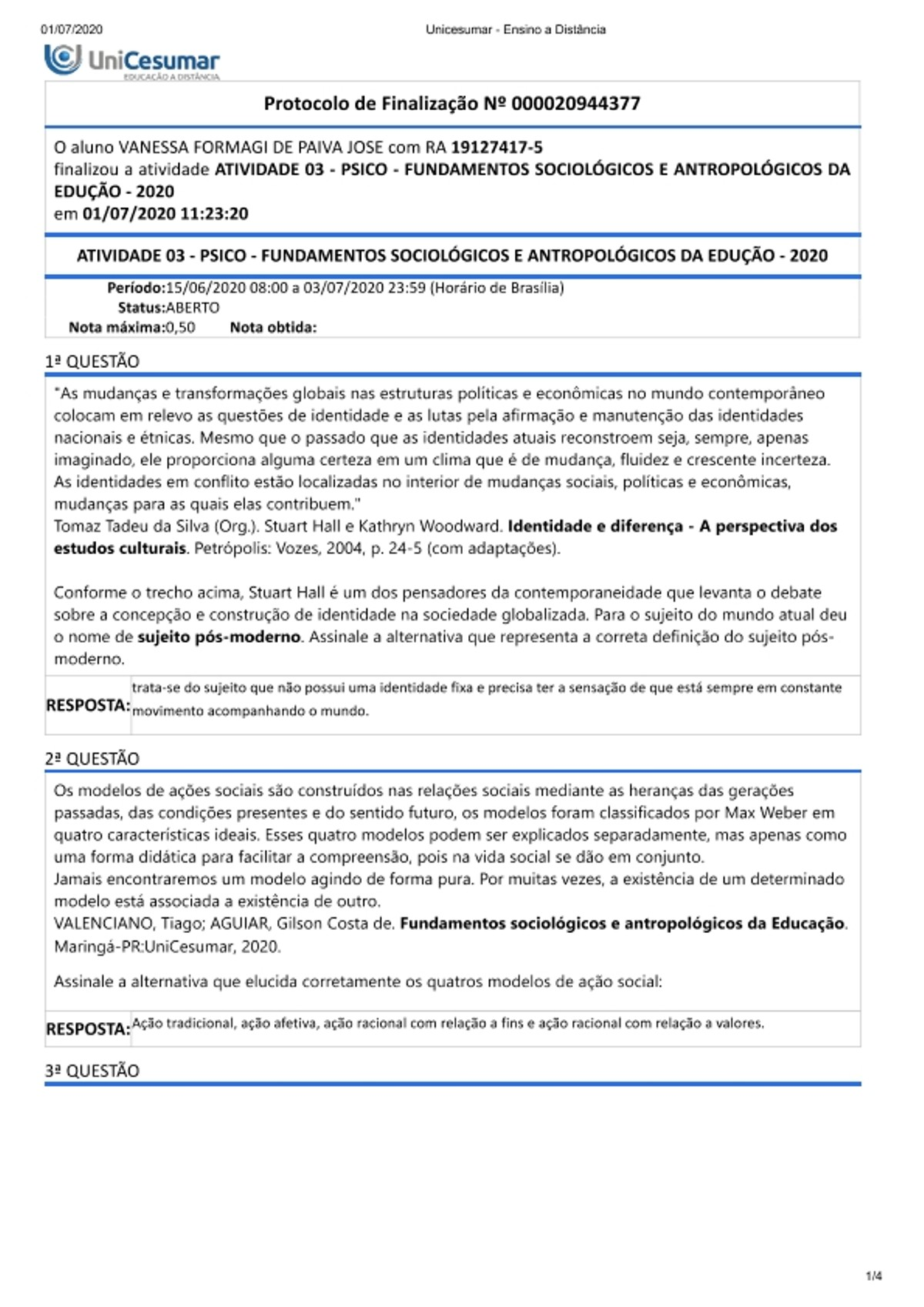 Pre-visualização do material Atividade 3 - Fundamentos Sociológicos e Antropológicos da Educação - página 1