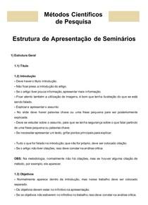 Métodos Científicos de Pesquisa: 06- Estrutura de Apresentação de Seminários