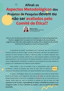 Afinal: a METODOLOGIA do Projeto de Pesquisa é ou não avaliada pelo Comitê de Ética?