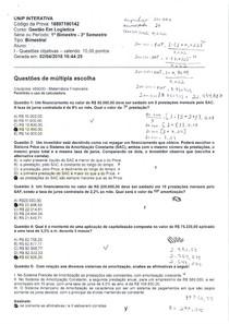 Prova Matemática Financeira - UNIP 2018