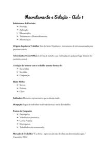 Recrutamento e Seleção - Aula 1