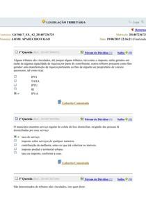 AVALIANDO APRENDIZADO AULA 02 - LEGISLAÇÃO TRIBUTÁRIA