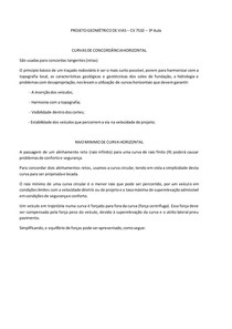 PROJETO GEOMÉTRICO DE VIAS - 3ª Aula