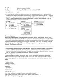 Avaliação Final (Discursiva) FLEX Banco de Dados Avançado