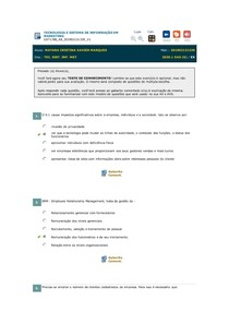Exercícios TECNOLOGIA E SISTEMA DE INFORMAÇÃO EM MARKETING - Aula 8