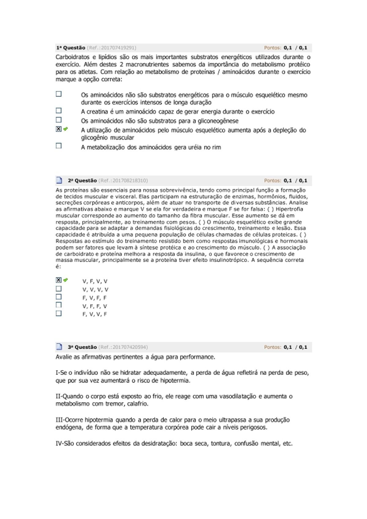 Pre-visualização do material avaliando 2 nutrição esportiva - página 1