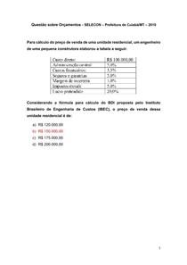 Questão sobre Orçamentos - SELECON Prefeitura de Cuiabá-MT 2019