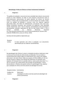 Resumo salvar Metodologia e Prática de Ciências no Ensino Fundamental. Atividade 04