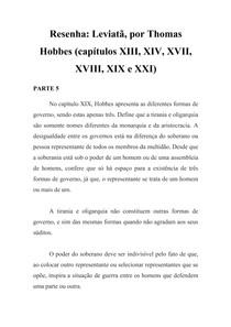 Resenha - Leviatã - Thomas Hobbes - Cap XIX