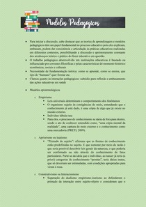 MODELOS PEDAGÓGICOS E EPISTEMOLÓGICOS DE APRENDIZAGEM