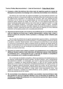 Teoria e Política Macroeconômica I Lista de Exercícios 9 Felipe Moreti Bolini