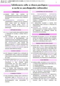 INTERVENÇÕES ENTRE A CLÍNICA PSICOLÓGICA E A ESCOLA NO PSICODIAGNÓSTICO INTERVENTIVO - RESUMO/FICHAMENTO - PSICODIAGNÓSTICO