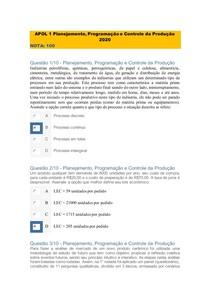 APOL 1 Planejamento programação e controle de produçao 2020